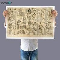 Wholesale abstract body painting wall art resale online - Wall Art Picture Canvas Painting Da Vinci Anatomy Drawings Retro Poster Print Body Map Pictures for Education NO Frame