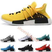 official photos fb4fa 41103 2018 pas cher NMD course humaine Hommes formateurs Pharrell chaussures de  course pour femme Jaune encre noble noyau sport chaussures baskets en solde