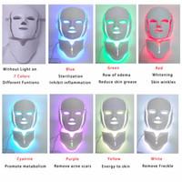 foton gençleştirme mikroskopik yüz toptan satış-TM-LM001 Bırak Gemi ABD USPS ücretsiz gönderi 7 Renk Foton LED Yüz Boyun güzellik Maskesi Microcurrent Masaj Cilt Gençleştirme Anti-Aging