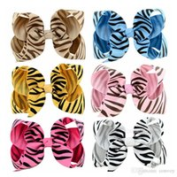 Wholesale zebra hair color - Baby girl hairclips hairpin Ribbon Bow Hairpin Clips Girls Bowknot zebra stripes Barrette Kids Hair Boutique Bows Hair Accessories KFJ69