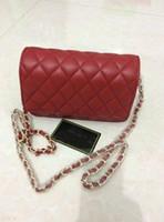 Wholesale designer lambskin handbags - New style Classic Medium Brand Cloth Lambskin Leather Plaid Double Flaps Shoulder Bag Women Designer High Quality Chain Handbag Gold