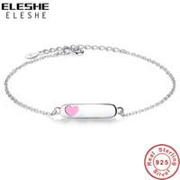 kettengliednamen großhandel-ELESHE personalisierte Gravur Name Schmuck 925 Sterling Silber Kette Armband mit rosa Emaille Herz Armbänder für Mädchen Kinder Geschenk