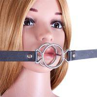 ingrosso o squilli-Fetish PU cuoio bocca aperta bavaglio, doppio metallo O ring bocca farcito, schiavo sesso orale giocattoli per adulti prodotti del sesso del gioco per le donne