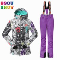 Wholesale snowboard jackets brands - 2018 NEW GSOU SNOW Brand Women Ski Suit Snowboard Jacket Pants Sets Winter Waterproof Skiing Suit Ladies Outdoor Sports Clothing Skiwear