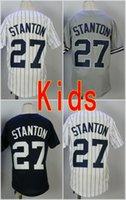 Wholesale Boys New York - Youth #27 Giancarlo Stanton New York Jersey Kids Baseball Jerseys 100% Stitched White Blue Grey