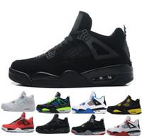 wholesale dealer 20f97 1d546 nike air Jordan 4 aj4 retro Haute Qualité 4 4 s Blanc Ciment Pur Argent  Basketball Chaussures Hommes Femmes Bred Jeu Royalty Royal Sports Sneakers  taille ...