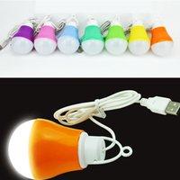 usb lâmpadas banco de energia venda por atacado-Mini Colorido 5 W USB Light Bulb portátil Lâmpada LED Trabalho Com Banco De Potência Notebook para caminhadas camping viagens (Cor Aleatória)