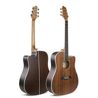 diy e-gitarre solide großhandel-41-Zoll-Folk-Gitarre Alle Walnuss-Folk-Gitarren aus Stahl