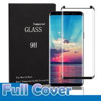 galaxy s6 3d vidrio templado completo al por mayor-Para Samsung Galaxy S10 Plus S9 Plus S8 Nota 9 Note8 S7 S6 Edge Plus Funda Amigable Cubierta completa 3D Protector de pantalla de vidrio templado curvo
