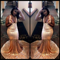 Wholesale Runway Dresses For Girls - 2018 Sparkly Bling Sequined Gold Evening Dresses Black Girl Sexy Deep V Neck Mermaid Prom Dress For Party Gowns