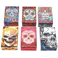 Wholesale automatic cigarette box resale online - Newest Colorful Human Skeleton Skull Cigarette Cases MM Plastic Storage Box High Quality Exclusive Design Automatic Opening