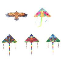 poignée d'oiseau achat en gros de-8 styles 80/90 / 102cm Chinois Cerf-Volant Dragon Volant Golden Eagle Eagle Abeille Abeille Papillon Cerf-volant Avec Poignée Ligne Jeux Bird