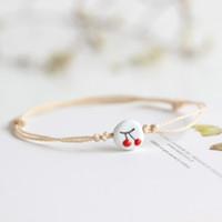 bracelete de cerâmica venda por atacado-2 Peças / lote Novo Criativo Bonito Cereja Padrão de Cerâmica Pulseira Corda Mão de Malha Cadeia Charme Bangle Mulheres Jóias