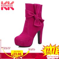 Wholesale womens fashion warm winter boots resale online - KemeKiss Fashion Womens Winter Boots High Heels Warm Boots Side Zipper Platform Shoes For Women Bowtie Mid Calf Size