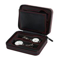 caixas de relógio de metal venda por atacado-4/2 Slots De Fibra De Carbono Relógio de Caixa de Exibição com Zíper relógios saco Caso Relógios De Armazenamento De Exibição Portátil Relógio de Viagem Titular Caso