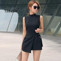 85b009e340e3 2018 Summer Plus Size Solid Playsuit Women Black Sleeveless Casual Office Playsuits  Shorts Vintage Elegant Asymmetrical Jumpsuit