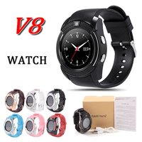 Wholesale push fit fittings online - V8 smart watch bluetooth watches SIM Intelligent mobile phone watch M Camera MTK6261D fit with G sd card for samsung s9 android phone