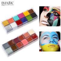 Wholesale tattoo flash free shipping - IMAGIC 12 Colors Flash Tattoo Face Body Paint Oil Painting Art use in Halloween Party Fancy Dress Beauty Makeup Tool free shipping