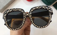 Wholesale black diamond package - Luxury 0308 Sunglasses For Women Diamond Design Cat Eyes Summer Style Rectangle Full Frame Top Quality UV Protection Come With Package