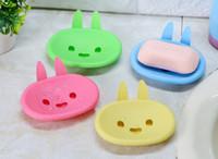 ingrosso le forme di coniglio di plastica-1 pz cartone animato a forma di coniglio scatola di sapone di plastica portasapone da bagno porta sapone da bagno forniture per la casa