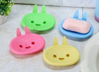 Wholesale plastic rabbit shapes resale online - 1PCS Cartoon Rabbit Shaped Plastic Soap Box Bathroom Drain Soap Dish Bathroom Soap Holder Home supplies