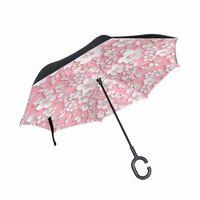 doppelte stoffschirme großhandel-3D Blume Reverse Umbrella Double Layer Pongee Stoff Erwachsene Regenschirme C-Haken Griff Auto Regenschirm Winddicht Wasserdicht Nützlich