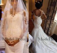 Wholesale romantic corset wedding dresses for sale - Illusion Long Sleeves Mermaid Wedding Dresses Corset Lace Up Back Lace Appliques Sheer Neck Romantic Bridal Gowns Chapel Train