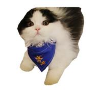 bufanda de perro azul al por mayor-Elk azul marino pañuelo para perro pequeño mediano mascota bufanda de cuello cachorro de navidad perros chihuahua gatos gatos gatito accesorios mascotas paño medios perros