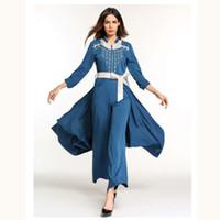 dubai islami elbise toptan satış-Mavi Ramazan Müslüman Pantskirt Pantdress, Dubai Orta Doğu Uzun Robe Fas Ramazan Kareem Arap İslam Singapur Giyim