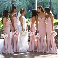 Wholesale trumpet ruched mermaid wedding dress for sale - Group buy Blush Pink Sweetheart Satin Mermaid Long Bridesmaid Dresses Ruched Floor Length Wedding Guest Long Maid Of Honor Dresses BM0732