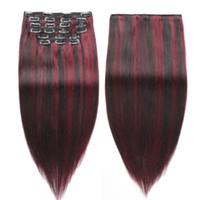 remy haarfarbe 99j großhandel-Brasilianisches Jungfrau-Klipp in den Haar-Verlängerungen 10a Grad Remy menschliches wirkliches gerades einfaches Volumen-Haar natürliche Farbe mit Rotwein Verlängerungen 1b # 99J
