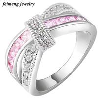 anillo de oro blanco día de san valentín al por mayor-Mujer rosa anillo cruzado moda oro blanco lleno joyería Vintage anillos de boda para mujeres cumpleaños piedra regalos del día de San Valentín