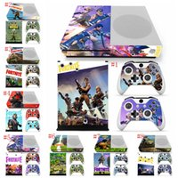 Wholesale kid s stickers - 8 colors Fortnite Battle Royale Protective Decals For Microsoft xbox one S Console and 2 Controllers Cover Skin Stickers Kids gift LJJM259