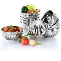 Wholesale rice steel bowl - Double Layer Stainless Steel Rice Bowl 12cm 14cm 16cm 18cm Heat Insulation Anti Scald Bowl Kitchen Noodles Bowls OOA5254