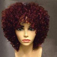 kıvırcık patlama perukları sentetik saç toptan satış-MHAZEL Tutkalsız Kısa Afro Kinky Kıvırcık Bob Ön Isıya Dayanıklı Sentetik Elyaf Saç Dantel Peruk Patlama