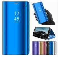 cajas del teléfono espejo al por mayor-Clear View Smart Mirror Funda para teléfono para Samsung Galaxy S10 S10 Plus S9 S8 S7 S6 Edge Plus Nota 8 9 para A5 A7 A8 2017 2018