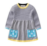 2442bd6293 Girls Sweater Clothing dress 0-5T Kids Baby knit clothes girl soft Autumn  and winter quality100% cotton Extended stripe sweater