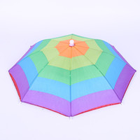 Wholesale plain camp hat online - Portable Umbrella Hats Head Wear Elastic Band Outdoors Rainbow Watermelon Color Strip Fishing Camping Equipment Umbrellas mx bbWW
