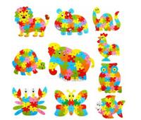 blocos de alfabetos venda por atacado-26 Padrões de Animais De Madeira Alfabeto Early Learning Jigsaw Puzzle Para As Crianças do bebê Educacional Learing Brinquedos Inteligentes Bloco de Quebra-cabeça