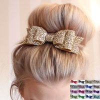 Wholesale Women Hair Clips Lady Girls Fashion Sequin Big Bowknot Barrette Hairpin Hair Bow Accessories Many Styles