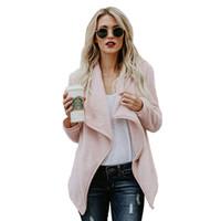 ceket dhl toptan satış-Yumuşak Peluş Geniş Yaka Hırka Ceket Kadın Berber Polar Golilla Mont Moda Sonbahar Kış Isınma Ceket Uzun Kollu Ceket Tops DHL