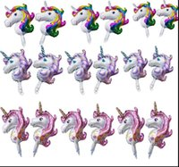 Wholesale unicorn balloon - Aluminum Foil Balloon 51*32cm for Birthday Party 3PCS Cartoon Unicorn rainbow polly Inflatable Ballon Gifts BBA67