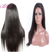 Wholesale full fringe hair for sale - BD Brazilian Human Hair Full Lace Wigs With Silky Straight Glueless Lace Human Hair Wigs With Fringe Density