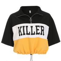 koreanischer kragen großhandel-Koreanische Harajuku T-Shirt Frauen Sommer Casual Crop Tops T-Shirts Turn-Down Kragen Halbe Hülse Printed T-shirt Punk Style Top Weiblich
