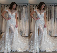 Wholesale lace up sexy wedding dresses online - Lace Mermaid Wedding Dresses Sheer Jewel Neck Capped Short Sleeves Lace Appliques Bridal Wedding Gowns