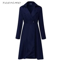 Wholesale Breast Wrap - Brand Women Autumn Winter Trench Coat Dress Casual Outwear Fashion Long Sleeve Solid Wrapped Dress Office Ladies Coat Plus Size