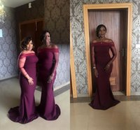 Wholesale tulle bridesmaid wedding dresses sleeves for sale - New Elegant Off the Shoulder Burgundy Mermaid Bridesmaid Dresses Special Design Sheer Tulle Long Sleeves Maid of Honor Gowns Wedding