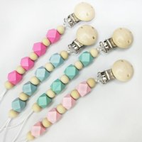 Wholesale wholesale dummy clips - Baby Clip Chain Holder Wood Beaded Pacifier Soother Holder Clip Nipple Teether Dummy Strap Chain 100 p
