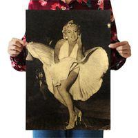 autocollant mural intérieur achat en gros de-Marilyn Monroe Sexy Lady Nostalgie Rétro Sticker Mural Kraft Papier Affiche Intérieur Bar Café Décoration Peinture 0 69pm bb