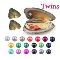 ingrosso gemelli partito-Oyster libero di trasporto con il grado naturale 6-7 mm rotonda multicolore d'acqua dolce desiderio Twins perla vuoto Pacchetto per regali divertenti dei capretti della festa